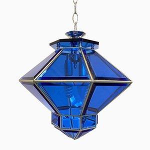 Deckenlampe aus blauem Glas, 1960er