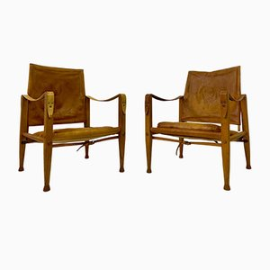 Leather & Ash Safari Chairs by Kaare Klint for Rud Rasmussen, Set of 2