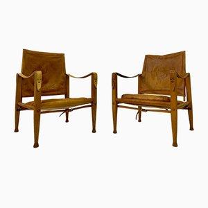 Safari Stühle aus Leder & Eschenholz von Kaare Klint für Rud Rasmussen, 2er Set
