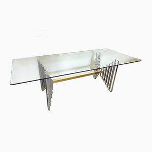 Steel & Brass Dining Table, 1970s