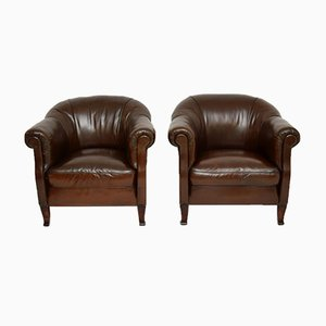 Antique Swedish Leather Armchairs, Set of 2