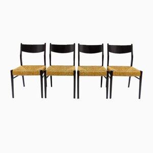 Belgische Stroh Esszimmerstühle, 1950er, 4er Set