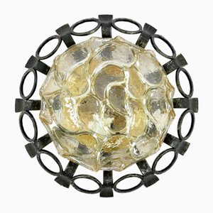 Brutalist Iron & Glass Ceiling Lamp, 1960s