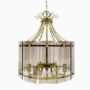 Messing & Rauchglas Deckenlampe, 1970er