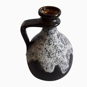 Deutsche Vintage Fat Lava Keramikvase in Braun & Grau, 1970er