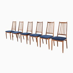 Mid-Century Danish Teak & Velvet Dining Chairs, 1960s, Set of 6