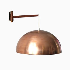 Lampada da parete regolabile in teak e ottone con paralume in rame, anni '60