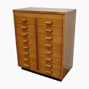 Dutch Industrial Beech Apothecary Cabinet, Mid-20th-Century
