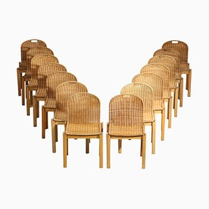 Italian Chairs in Ash and Wicker, 1970s, Set of 14