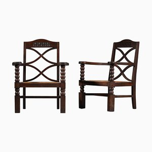 French Regionalist Armchairs, 1940s, Set of 2