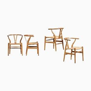 Dänische Eichenholz Modell CH24 Stühle von Hans Wegner für Carl Hansen & Søn, 4er Set