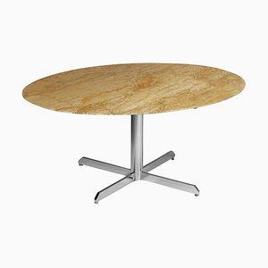 Ovaler Esstisch aus Travertin & Marmor mit verchromten Viersternfüßen, 1970er
