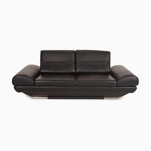 Black Leather 2-Seater Sofa by Gio Mano