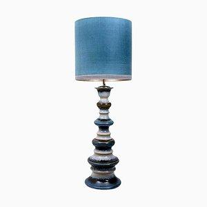 Lampada da terra grande in ceramica con paralume in seta di René Houben, anni '60