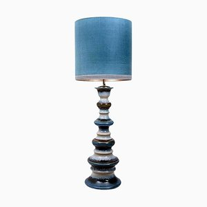 Large Ceramic Floor Lamp with New Silk Custom Made Lampshade by René Houben, 1960s