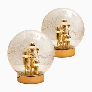 Große mundgeblasene Bubble Glas Tischlampen von Doria, 1970, 2er Set