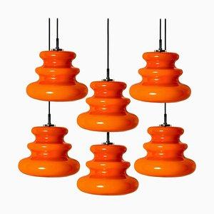 Orangefarbene Hängelampe von Peill & Putzler, 1970er
