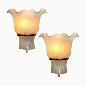 Wall Sconces in Brass and Textured Glass from Doria, 1960s, Set of 2