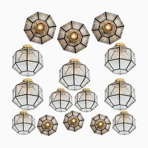 Deckenlampe aus Eisen & Klarglas von Limburg, 1970er
