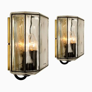 Iron and Bubble Glass Wall Lamp from Limburg, Germany, 1960