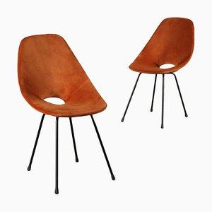 Sedie Medea in schiuma di velluto e asta in metallo, anni '60, set di 2