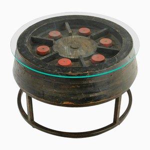 Hölzerner Couchtisch mit Glasplatte und Gusseisen Gestell