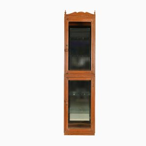 Large Wooden Display Case with Mirror