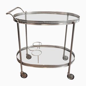 Neoclassical Style Silver Plated on Brass Drinks Trolley, French, 1940s