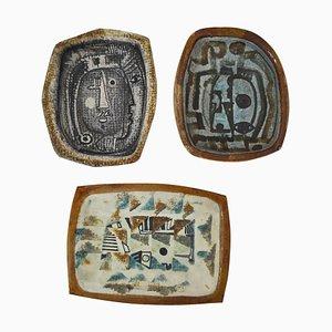 Dänische Glasierte Keramik Schalen von Jeppe Hagedorn-Olsen, 1960er, 3er Set