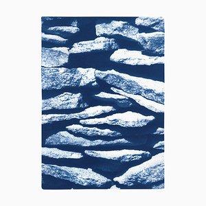 Cyanotype of Flat Stone Stack, Garden Scene Textures, Blue, 2021