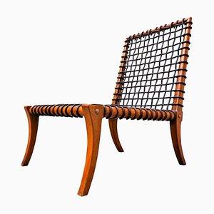 Chaise en Corde de Cuir par TH Robsjohn-Gibbings Klismos pour Saridis