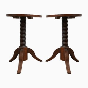 Mid-Century Demi-Lune Side Tables in the Style of Charles Dudouyt, Set of 2