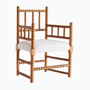 Bobbin Chair in Beech and Dedar Ivory Bouclé Fabric, Early 20th Century