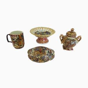 Hand-Painted Satsuma Pottery Set, 1950s, Set of 4