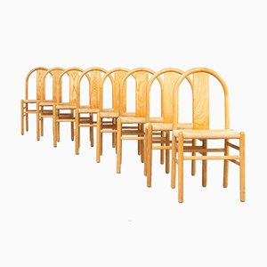 Rounded Bentwood Dining Chairs by Annig Sarian for Tisettanta, 1980s, Set of 8