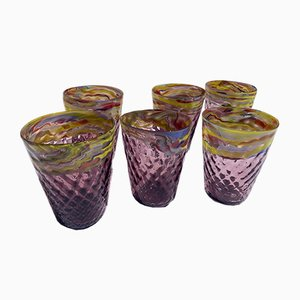 Mid-Century Style Hand-Crafted Water Cups in Murano Glass, Set of 6
