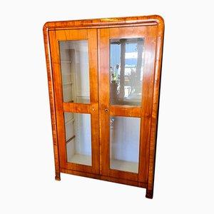 Antique Biedermeier Nut Wood Display Cabinet
