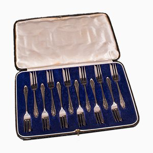 Vintage English Art Deco Cake Forks in Silver, Set of 12