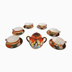Hand-Painted Chinese Porcelain Set, 1950s, Set of 13