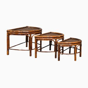 Antique Oriental Nesting Tables in Bamboo