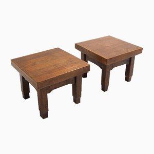 Coffee Tables in Solid Oak Wood, Set of 2