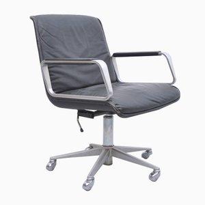 Black Leather Delta 2000 Desk Chair on Wheels from Wilkhahn