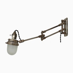 Industrial French Metal and Glass Adjustable Wall Lamp