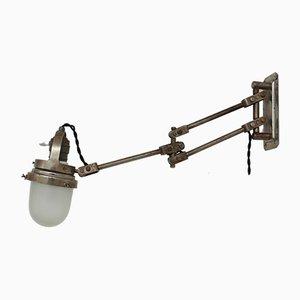 Lampada da parete industriale regolabile in metallo e vetro, Francia