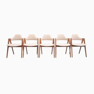 Teak Kompass Stühle von Kai Kristiansen, Dänemark, 5er Set