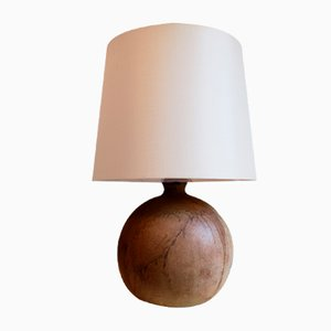 Mid-Century Stoneware Ball Table Lamp with Silk Shade