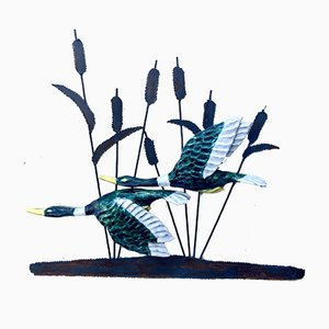 Large Vintage Wrought Metal Wall Sculpture with Birds, 1970s
