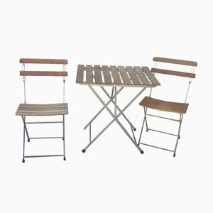 Table de Jardin Vintage et Deux Chaises Pliantes, Set de 3