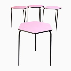 Mid-Century Modern Italian Hexagonal Bar Tables in Pink Formica, 1960s, Set of 4