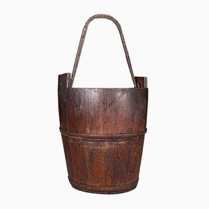 Antique Georgian English Well Bucket or Fireside Bin in Fruitwood & Wrought Iron